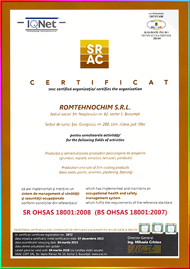 Certificare ISO - OHSAS 18001